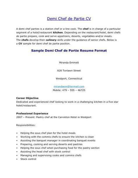 cover letter chef de rang 17 best images about resume sles on formal