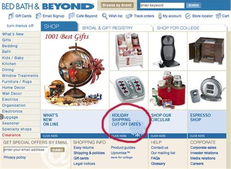 bed bath and beyond shipping tips for showing holiday shipping deadlines