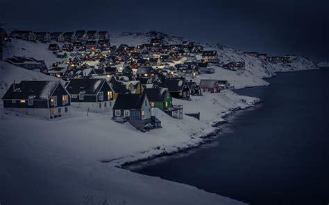 winter snow sea landscape house lights night city