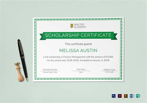 Scholarship Certificate Design Template In Psd Word Publisher Illustrator Indesign Indesign Certificate Template