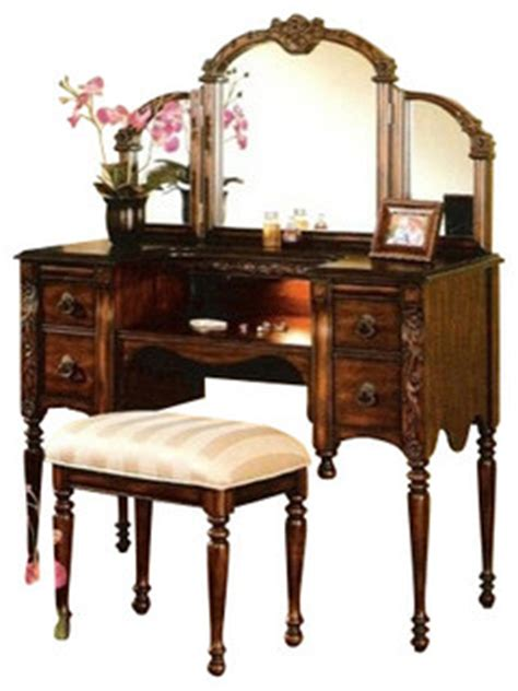 cherry brown finish wood make up bedroom vanity set