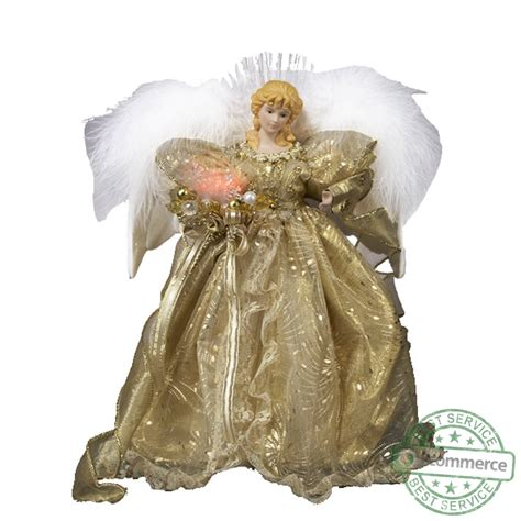 kurt adler angel tree topper new kurt adler 12 inch fiber optic gold tree topper ebay