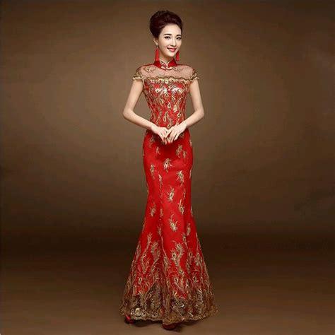 gothic wedding dresses chinese clothing chinese dress 2016 new red lace cheongsam dress bride wedding qipao