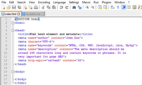 what is the head section of a web page html head element and metadata html web development