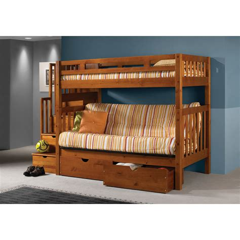futon loft bed donco kids stairway loft bunk bed with storage drawers