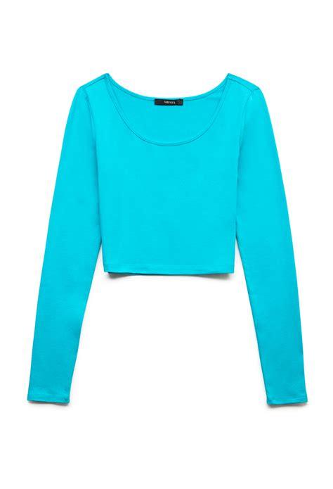 Forever21 Basic Longsleeve T3010 1 forever 21 basic sleeve crop top in blue teal lyst