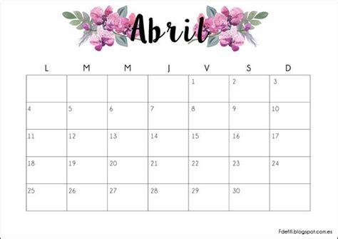 calendario abril 2017 para imprimir calendario descargable abril 2016 imprimible printable