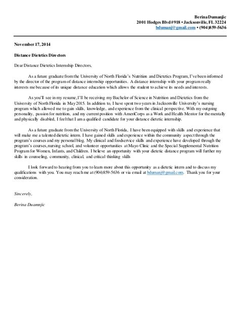 Nutrition and Dietetics Internship Cover Letter