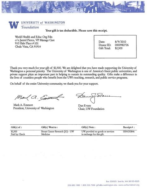 Acceptance Letter Of Washington Of Washington Foundation Trpn