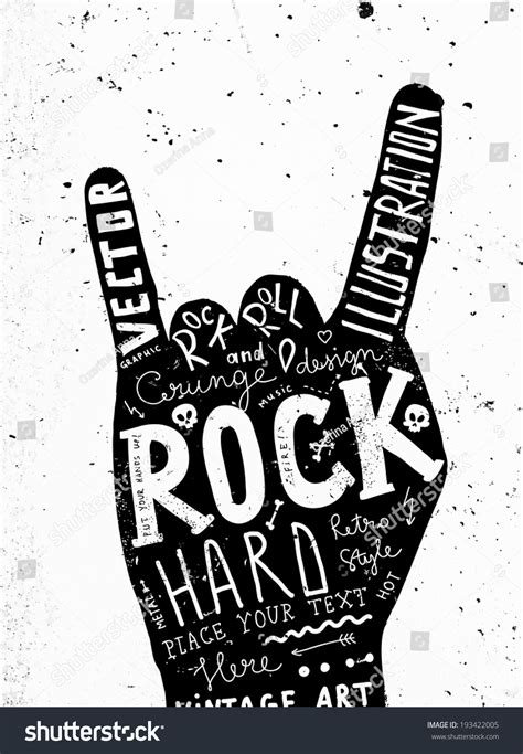 imagenes vectores rock vintage label rock roll style typography vectores en stock