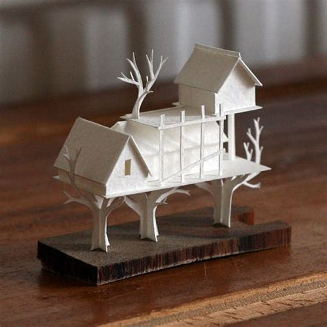 How To Make Tree Model From Paper - tree house paper model watercolour house and tree houses