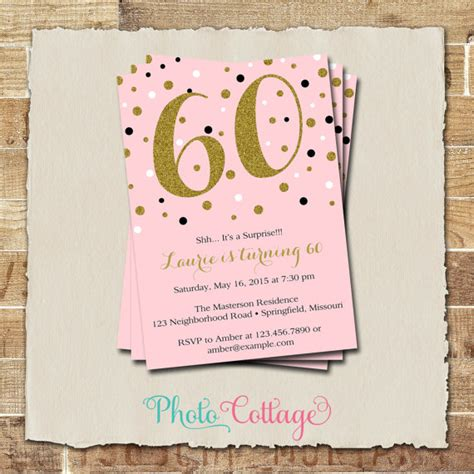 Invitation Letter For 60th Birthday 60th Birthday Invitation Gold Glitter Invitation
