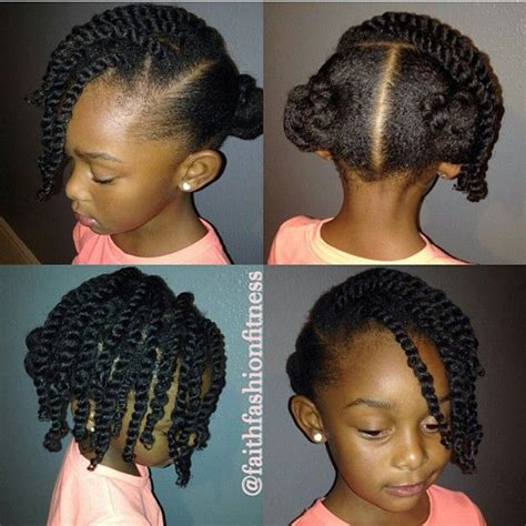 african american protective hairstyles two buns and a twisted side bang on natural hair natural