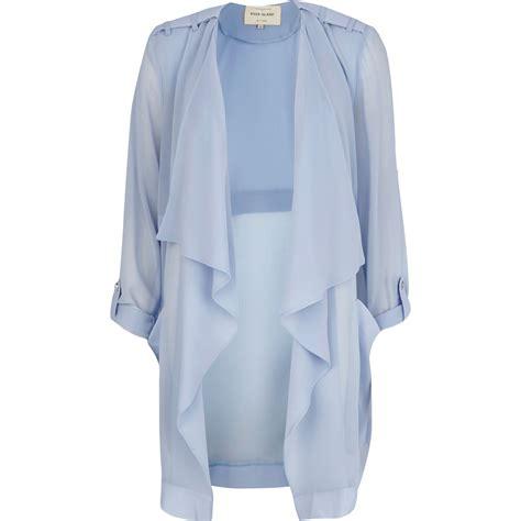 light blue jacket lyst river island light blue chiffon waterfall jacket in
