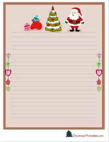 Christmas stationery printable with santa christmas tree and gifts