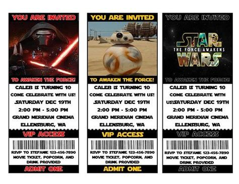 printable star wars movie tickets 17 best images about lego star wars invites on pinterest