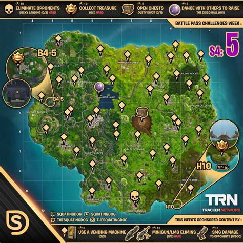 fortnite challenges for season 5 sheet map for fortnite battle royale season 4 week