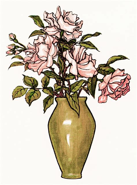 Vase Of Flowers Clipart by Kate Greenaway Pink Roses Design Shop