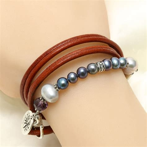 Handmade Pearl Bracelet - handmade leather pearl bracelet wrapping three laps with
