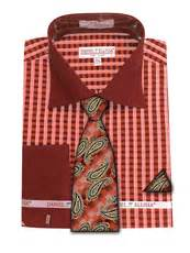 pattern shirt and tie combo avanti mens coral gingham pattern french cuff shirt tie