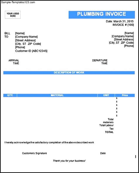 Ed Phillips Plumbing by Blank Plumbing Invoice Template Sle Templates