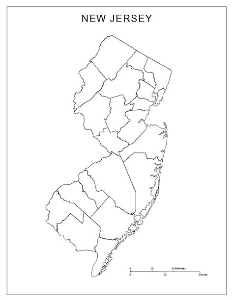 New Jersey State Map Outline by New Jersey Blank Map