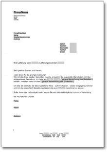 vorlage rechnung reklamation reklamation wegen einer falschlieferung at musterbrief