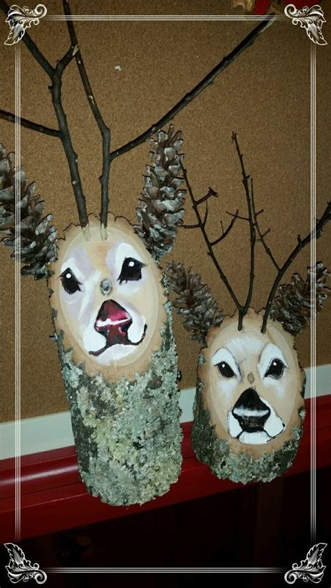 Handmade Reindeer - handmade reindeer log decorations