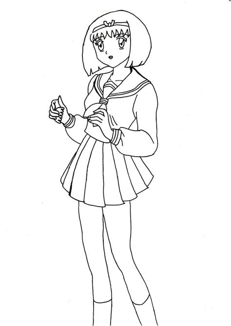 pictures girl coloring schoolgirl school girl yura outline by chrissy hime on deviantart