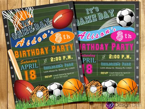 sports themed birthday invitations all star invitation sports theme boys or girls sports