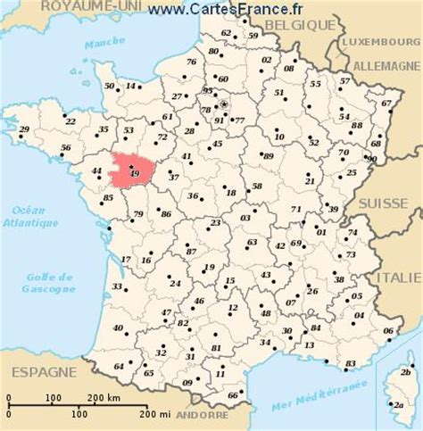 MAINE ET LOIRE : Carte, plan departement du Maine et Loire 49
