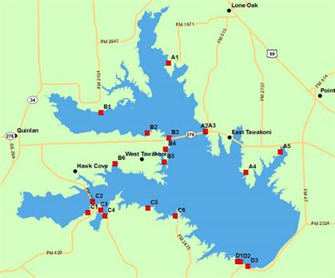 texas lake maps lake tawakoni access