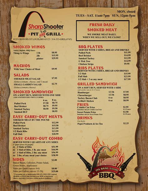 open pit bbq menu