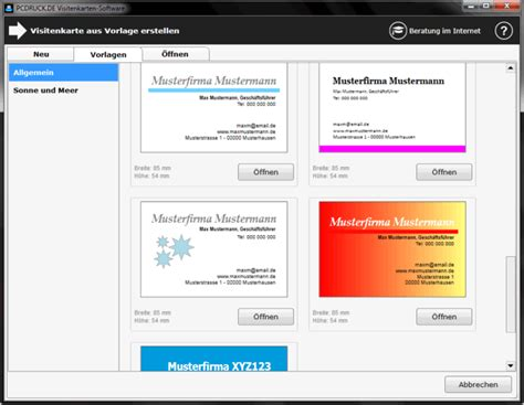 Word Vorlage Visitenkarten Visitenkarten Software Freeware De