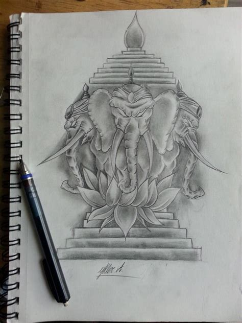 custom freehand 3headed elephant tattoo design by