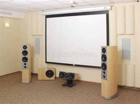 projection screen  home theater stock photo image
