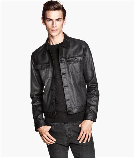 Jaket Denim H M H M Denim Jacket In Black For Lyst