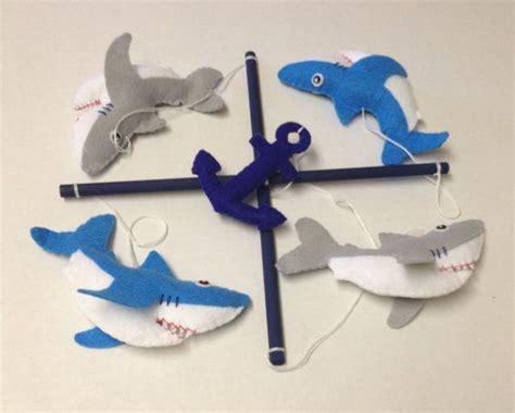 baby shark mobile blue gray and white felt shark crib mobile shark nursery