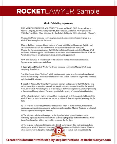 Music Publishing Agreement Free Form With Sle Exclusive Songwriter Agreement Template