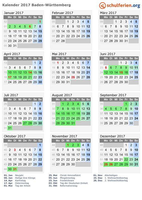 Kalender 2017 Tage Kalender 2017 Ferien Baden W 252 Rttemberg Feiertage