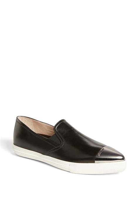 miu miu cap toe sneakers miu miu metal cap toe skate sneaker in black lyst