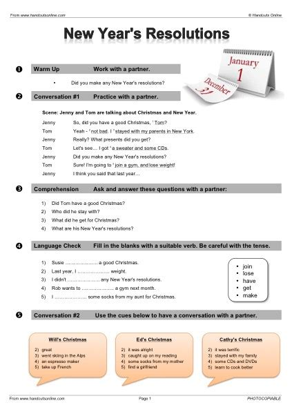 new year conversation questions efl tefl esl worksheets handouts lesson plans and