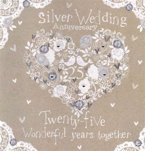 Silver Anniversary Wedding by Silver Wedding Anniversary Card Karenza Paperie