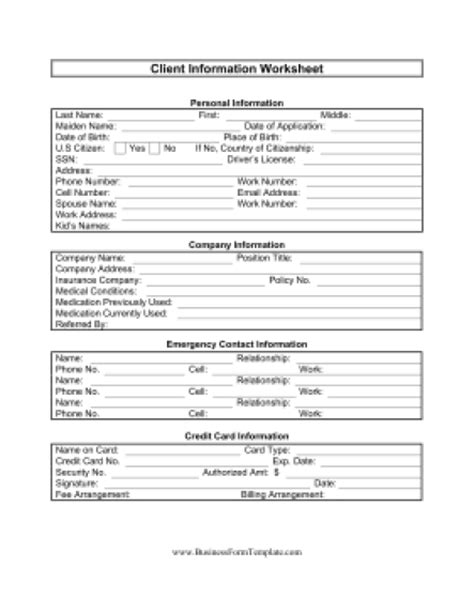 5 Free Client Information Sheet Templates Word Excel Pdf Formats Customer Credit Check Template