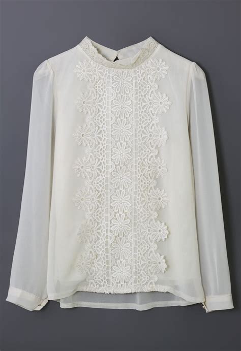 Lace Panel Chiffon Top floral lace panel beige chiffon shirt tops retro