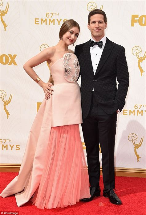 Emmys 2015 host andy samberg is joined by joanna newsom on red carpet