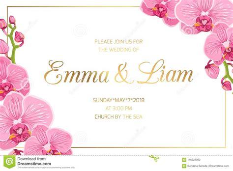 wedding invitation border frame corner pink orchid stock