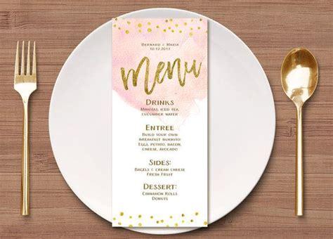 printable watercolor wedding menu gold menu template