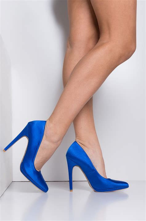 pointed toe high stiletto bright fabric pumps  fuchsia royal blue