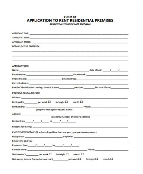 residential rental application template 44 basic application forms free premium templates